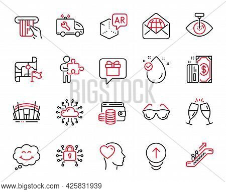 Vector Set Of Business Icons Related To Wish List, Payment And Swipe Up Icons. Vitamin E, Destinatio