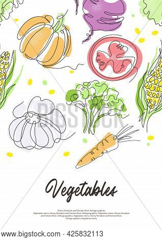 Background With Different Vegetables. Tomatoes And Paprika.