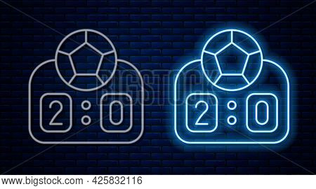 Glowing Neon Line Sport Mechanical Scoreboard And Result Display Icon Isolated On Brick Wall Backgro