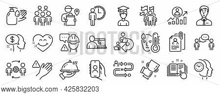 Set Of People Icons, Such As Smile Face, Online Education, Interview Documents Icons. Delivery Man,