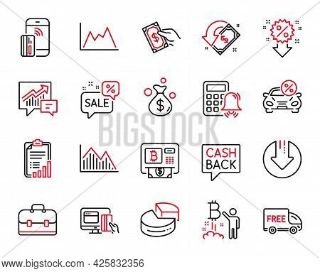 Vector Set Of Finance Icons Related To Money Transfer, Diagram And Portfolio Icons. Discounts Bubble