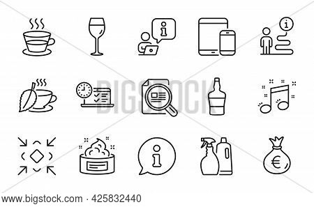Line Icons Set. Included Icon As Online Test, Musical Note, Check Article Signs. Mint Tea, Shampoo A