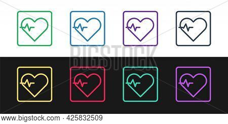 Set Line Heart Rate Icon Isolated On Black And White Background. Heartbeat Sign. Heart Pulse Icon. C