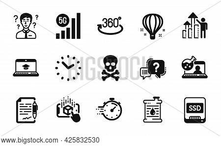 Vector Set Of Support Consultant, Air Balloon And Website Education Icons Simple Set. Employee Resul