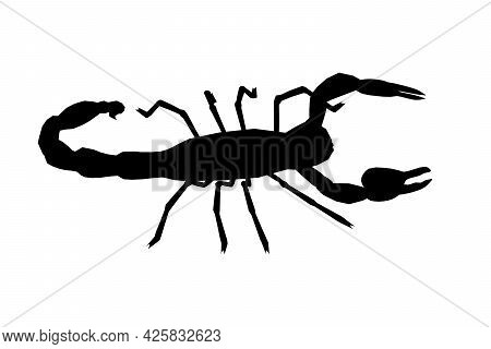 Scorpion Silhouette Isolated On White Background. Vector Illustration