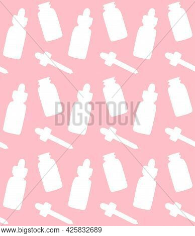 Vector Seamless Pattern Of Hand Drawn Oil Essence Bottle Silhouette Isolated On Pink Background