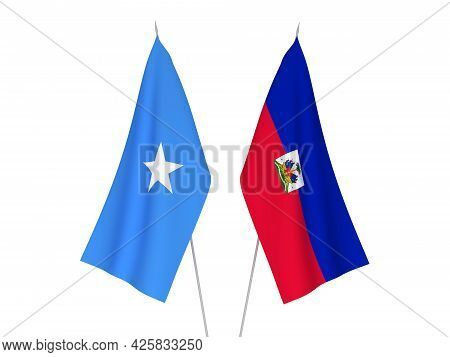National Fabric Flags Of Somalia And Republic Of Haiti Isolated On White Background. 3d Rendering Il