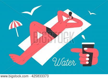 Modern Vector Illustration Of A Young Man Sunbathing On The Beach