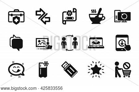 Vector Set Of Online Delivery, Cogwheel Blueprint And Recovery Computer Icons Simple Set. Stop Shopp