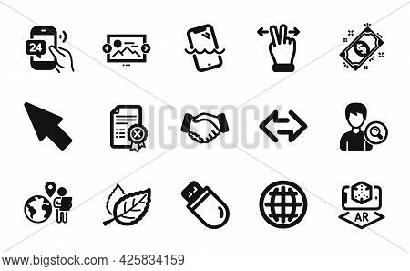 Vector Set Of Leaf, Search People And Image Carousel Icons Simple Set. Usb Stick, Touchscreen Gestur