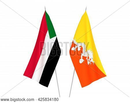 National Fabric Flags Of Sudan And Kingdom Of Bhutan Isolated On White Background. 3d Rendering Illu