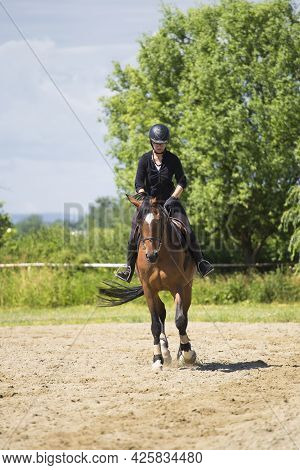 The Girl Rides A Sorrel Horse In Riding School