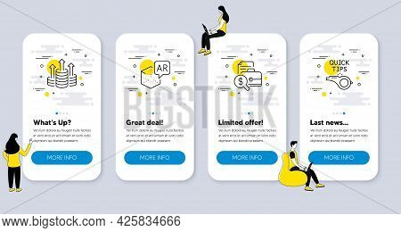Set Of Business Icons, Such As Accounting Report, Budget, Augmented Reality Icons. Ui Phone App Scre