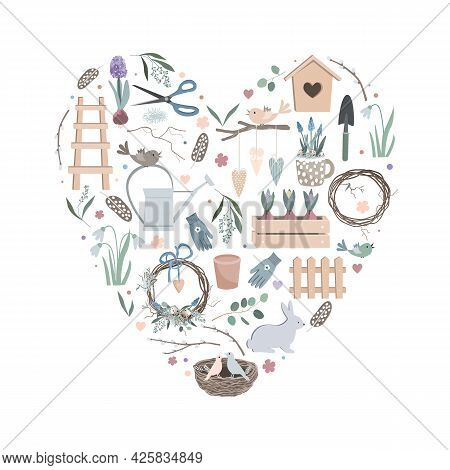 Colorful Vector Heart Made Of Cute Funny Garden Tools, Clothes And Vegetables. Can Be Used For Fabri