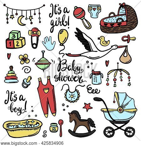 Set Of Baby Shower Design Vector Illustration Icons, Hand Drawn Baby Care Elements, Baby Boy Shower