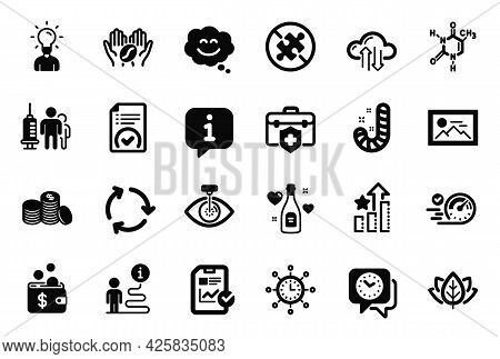 Vector Set Of Business Icons Related To Cloud Sync, Love Champagne And World Time Icons. Speedometer