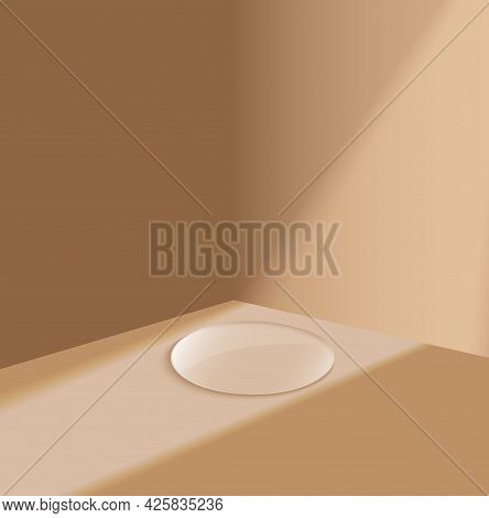 3d Glass Podium Minimal Scene With Glass Geometric Platform. Background Vector 3d Rendering Stand To