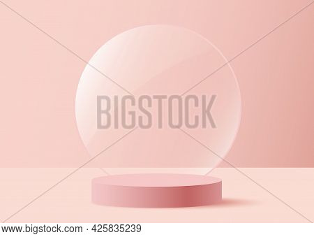Valentine Background Vector 3d Pink Rendering With Tranparant Glass, 3d Rendering Valentine Love Pin