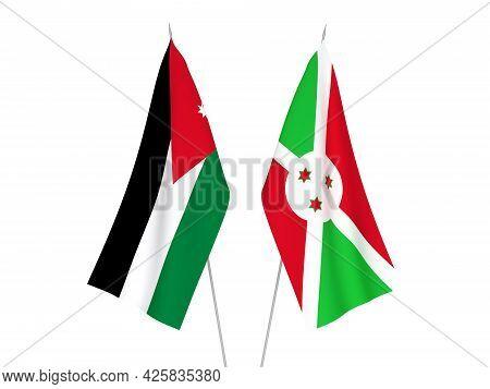 National Fabric Flags Of Burundi And Hashemite Kingdom Of Jordan Isolated On White Background. 3d Re