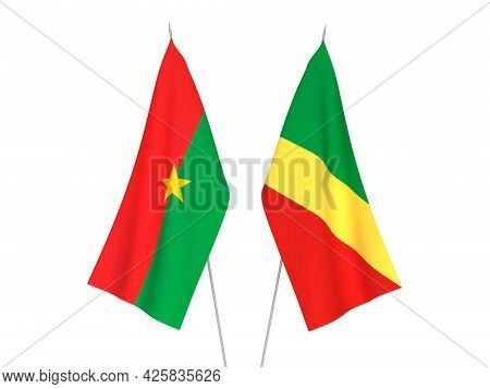National Fabric Flags Of Burkina Faso And Republic Of The Congo Isolated On White Background. 3d Ren