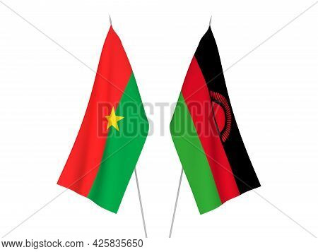 National Fabric Flags Of Burkina Faso And Malawi Isolated On White Background. 3d Rendering Illustra