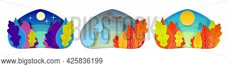 Autumn Weather Condition Set. Sunny, Starry Night, Overcast With Clouds And Rain. Landscape Forest O