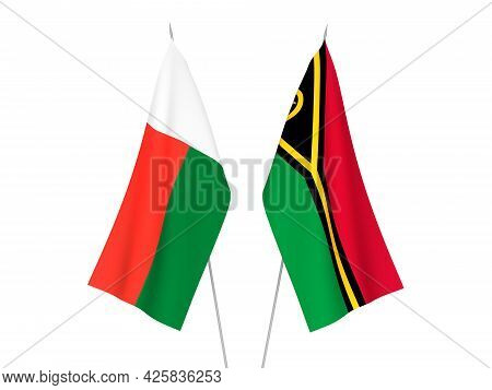 National Fabric Flags Of Madagascar And Republic Of Vanuatu Isolated On White Background. 3d Renderi