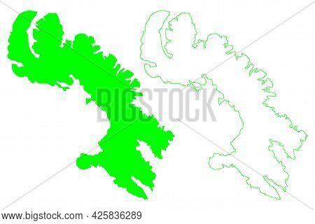 Baffin Island (canada, Nunavut Province, North America, Canadian Arctic Archipelago) Map Vector Illu