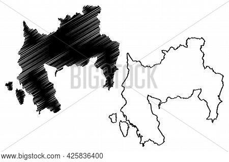 South Sardinia Province (italy, Italian Republic, Sardinia Region) Map Vector Illustration, Scribble
