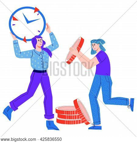 Time Management And Money Saving Concept With Women Holding Clock And Coins, Cartoon Vector Illustra
