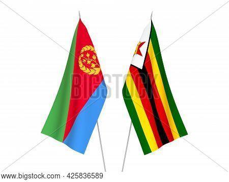 National Fabric Flags Of Zimbabwe And Eritrea Isolated On White Background. 3d Rendering Illustratio
