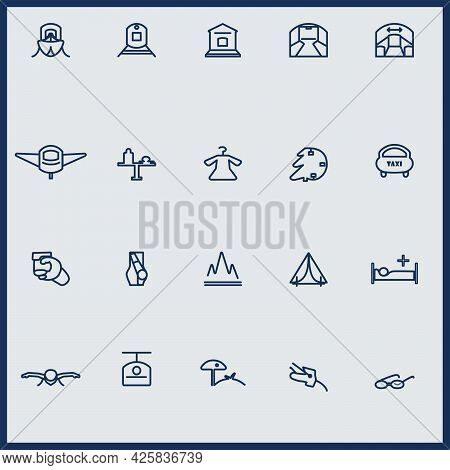 Simple Icons For Travel, Tourism, Sports And Recreation In Vector.