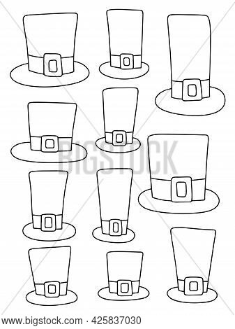 Eleven Hand-drawn Hats And Top Hats Black Outline White Isolated Vector Illustration. Funny Simple C