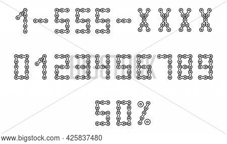 Bicycle Chain Font. Numerals Set From 0 To 9. Vector Stock Illustration