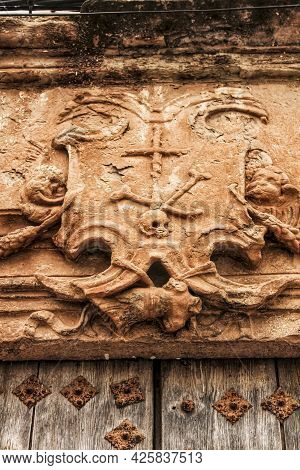Old Wooden Door And Coat Of Arms Of The Holy Inquisition In A House In Villanueva De Los Infantes, C