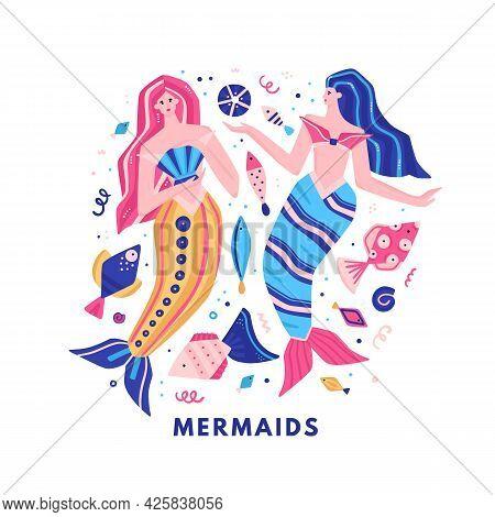 Vector Fabulous Underwater World. Colorful Marine Life. Cute Hand-drawn Mermaids, Fish, Shells. It C