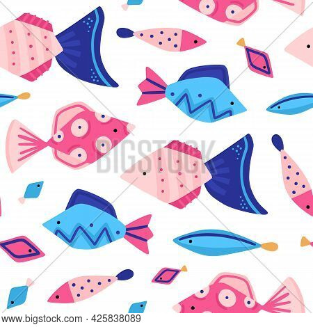 Vector Seamless Pattern With Colorful Underwater World. Cute Hand-drawn Fish. Marine Life. Repeating