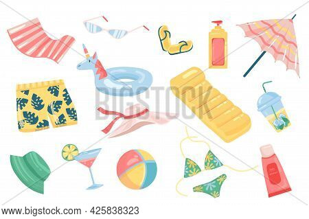 Summer Accessory Cute Elements Isolated Set. Collection Of Sunglasses, Sunscreen, Umbrella, Shorts,