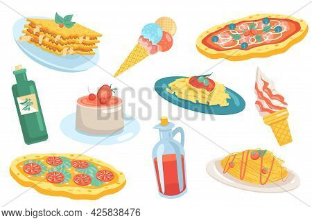 Italian Food Elements Isolated Set. Collection Of Traditional Food At Restaurant. Lasagna, Pizza, Ge