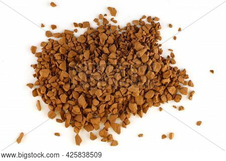 Instant Coffee Granules On A White Background