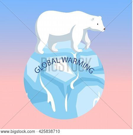 Polar Bear Escapes Climate Change And Global Warming On Planet. Animals During Global Warming Concep