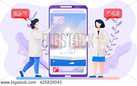 Video Call About Global Warming. Polar Bear Suffering From Glaciers Melting On Phone Screen. People