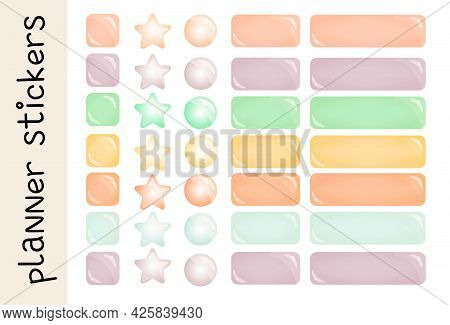 Planner Page In Doodle Style On White Background. Vector Collection. Abstract Love Symbol. Simple Ve