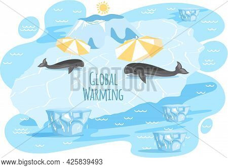 Placards And Posters Design Of Global Warming And Climate Change. Whales Lying On Ice Floe Near Lett