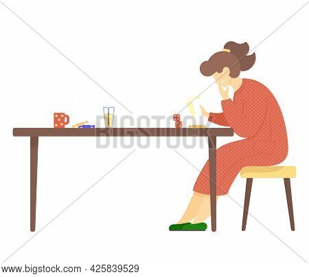 Woman Holds Cards Sits On Chair At Table With Sweets, Cup, Glass Of Juice And Dice. Female Smiles Pl