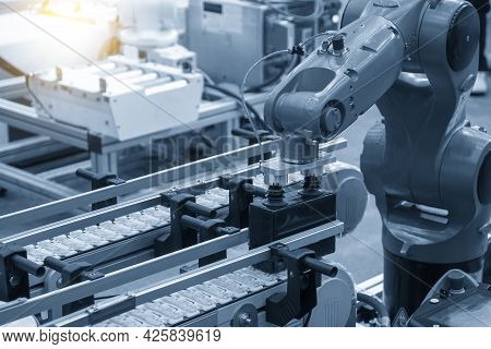 The Hi-technology  Material Handling Process By Robotic System. The Automatic Pneumatic Robotic Arm