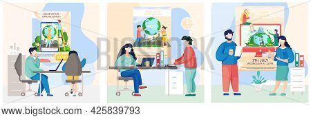 Set Of Illustrations About Pnvironmental Protection Of Earth. People Care Of Nature And Ecology. Mod