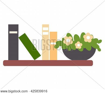 Bookshelf With Books And Potted Plant For Room Interior. Home Library With Literature, Vector Illust