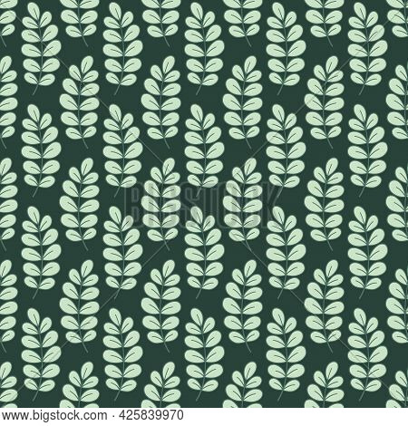 Pale Green Acacia Leaves. Seamless Vector Pattern For Design And Fashion Prints. Vintage Regular Lin