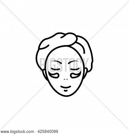 Girl Face Black Line Icon. Beauty Salon Abstract Concept. Advertising Cream. Trendy Flat Isolated Sy